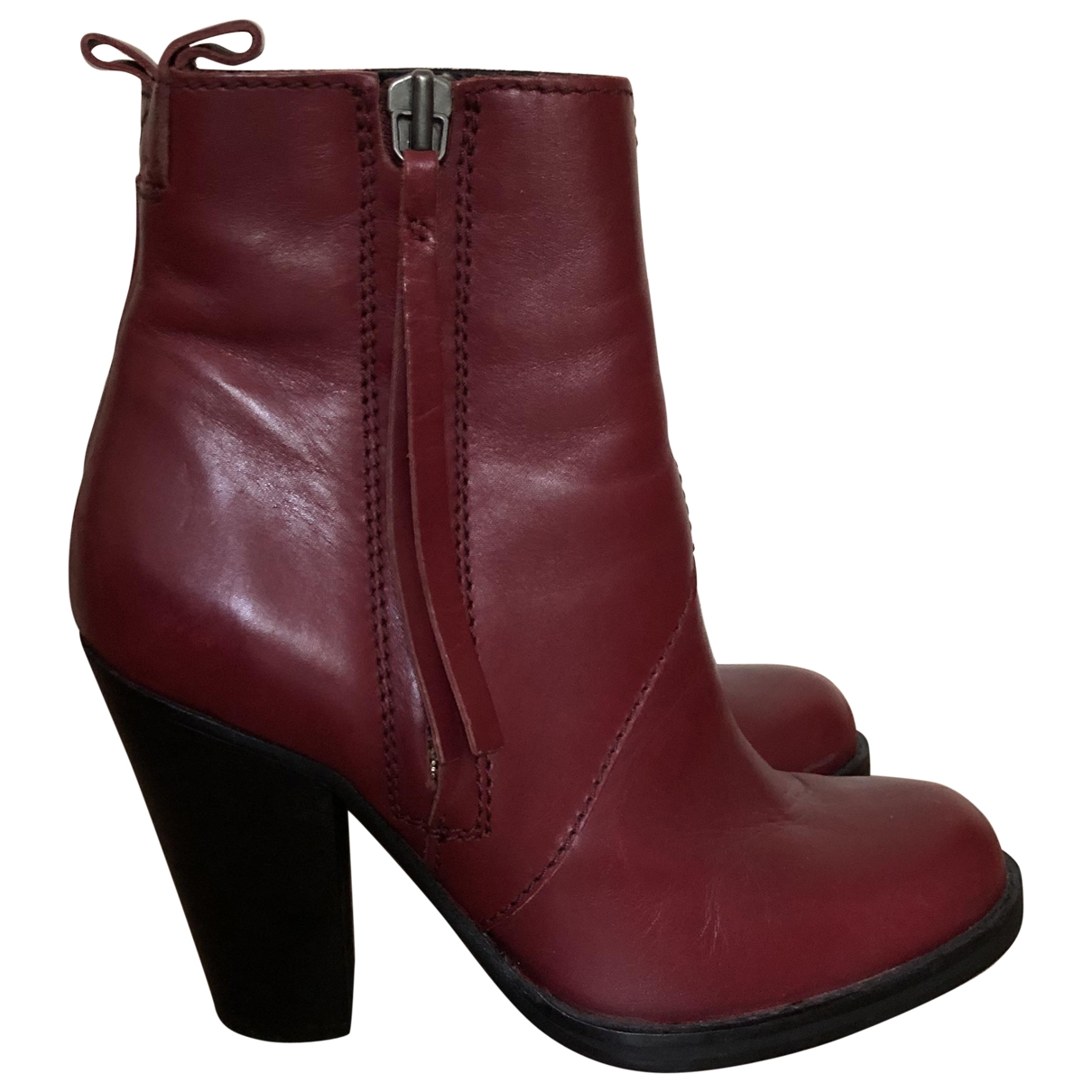 Acne Studios Pistol Burgundy Leather Ankle boots for Women 40 EU