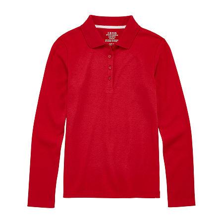 IZOD Little & Big Girls Long Sleeve Polo Shirt, X-large , Red