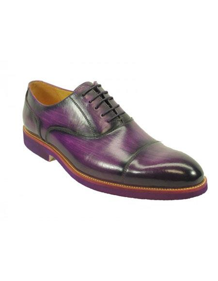 Men's Fashionable Carrucci Purple Genuine Leather Oxford Shoes