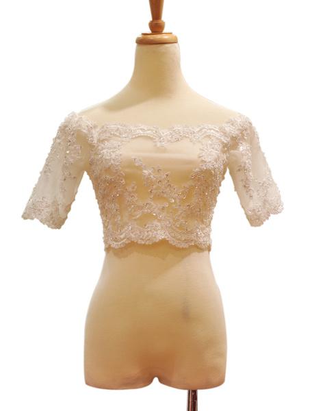 Milanoo Romantic Beading Half Sleeves Bridal Wedding Shawl