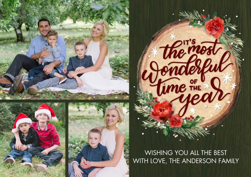 Christmas Photo Cards 5x7 Cards, Standard Cardstock 85lb, Card & Stationery -Christmas Script Wood Plaque by Tumbalina