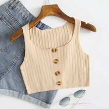 Button Front Solid Knit Top