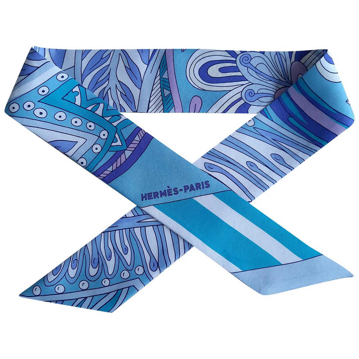 Hermès Twilly 86 Turquoise Silk scarf for Women N