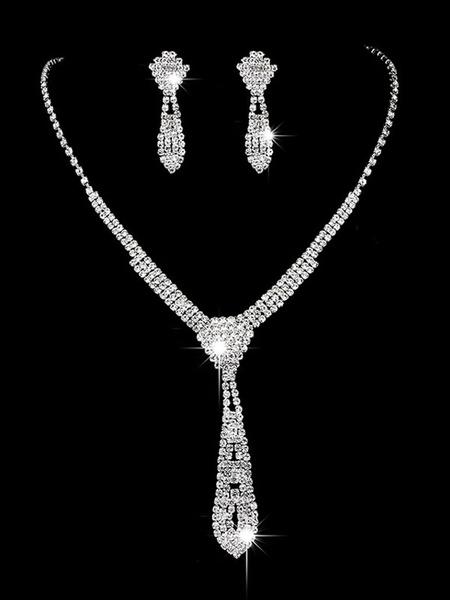 Milanoo Silver Wedding Jewelry Set Drop Earrings Necklace Bridal Accessories