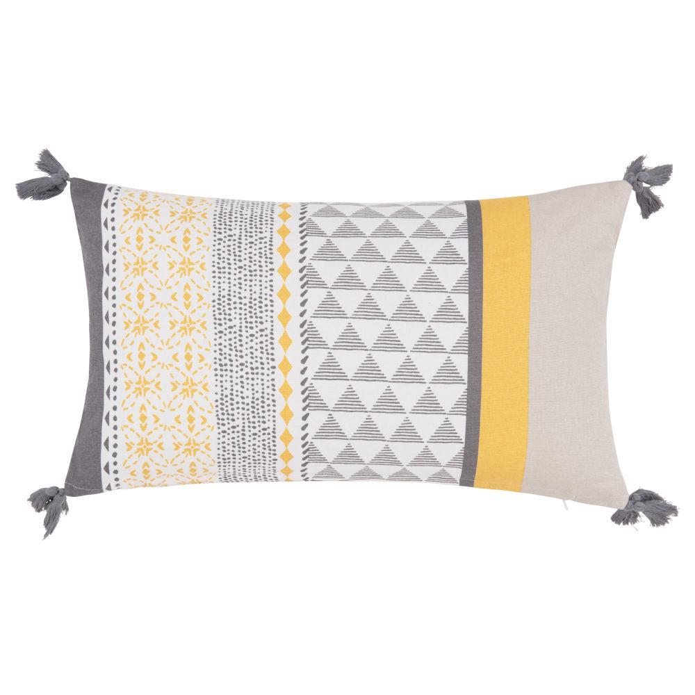 Kissenbezug aus Baumwolle, gelb und hellgrau 30x50