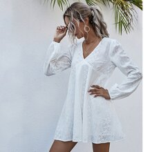 Solid Embroidered Babydoll Dress