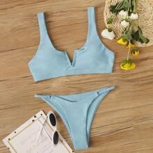 Set de bikini top escote V con bragas