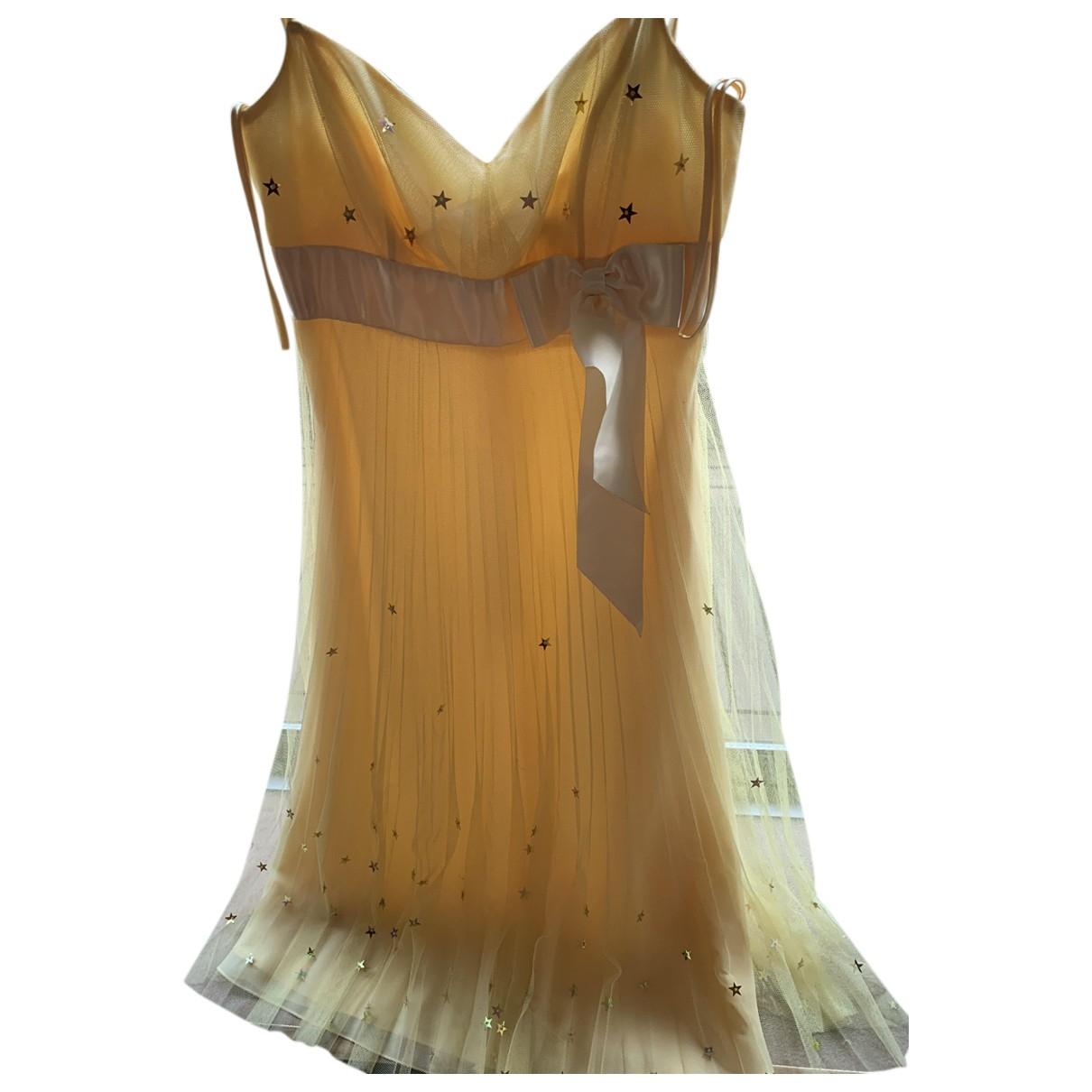 American Retro \N Kleid in  Gelb Mit Pailletten