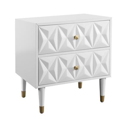 BD53WHT01AS Nightstand with 2 Deep Storage Drawers  Textured Modern Front  Medium-Density Fiberboard (MDF) and Solid Wood Frame in White  Gold