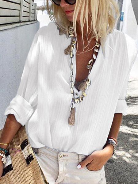 Milanoo Blue Casual Shirt Shirt Women V Neck Buttons Long Sleeve Blouse