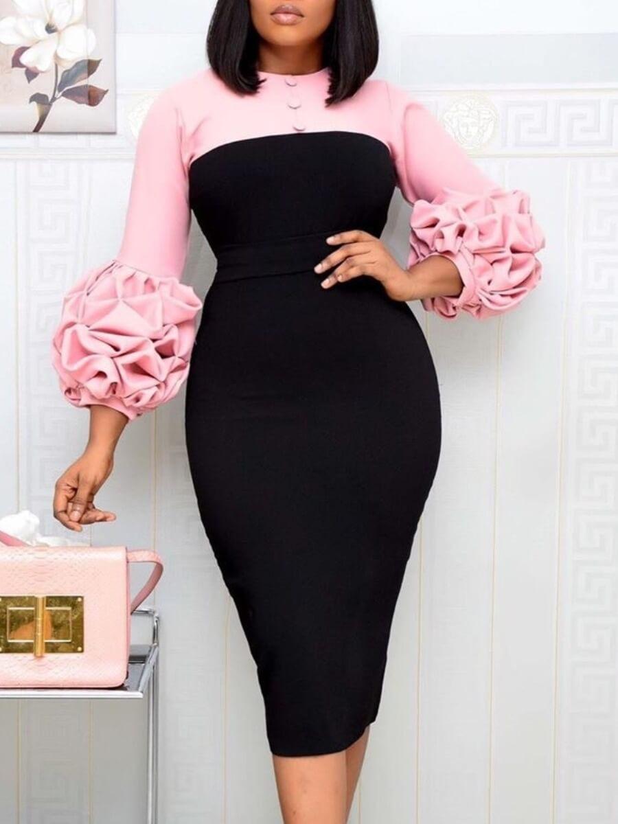 LW Lovely Trendy O Neck Patchwork Pink Knee Length Dress