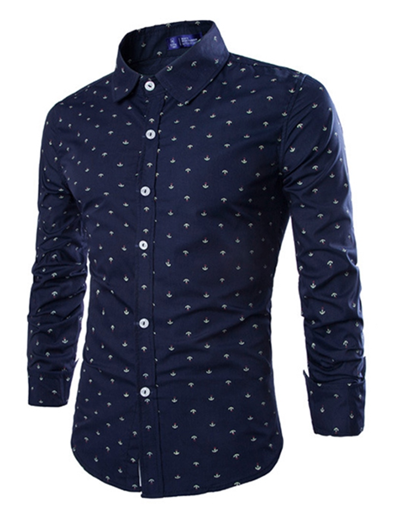 Ericdress Lapel Plain Polka Dots Single-Breasted Men's Dress Shirt