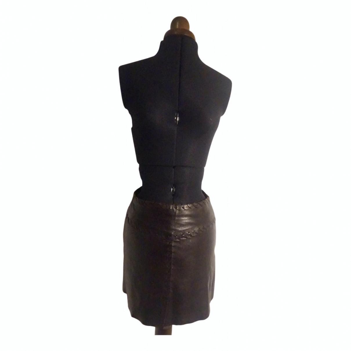 Ventcouvert - Jupe   pour femme en cuir - marron