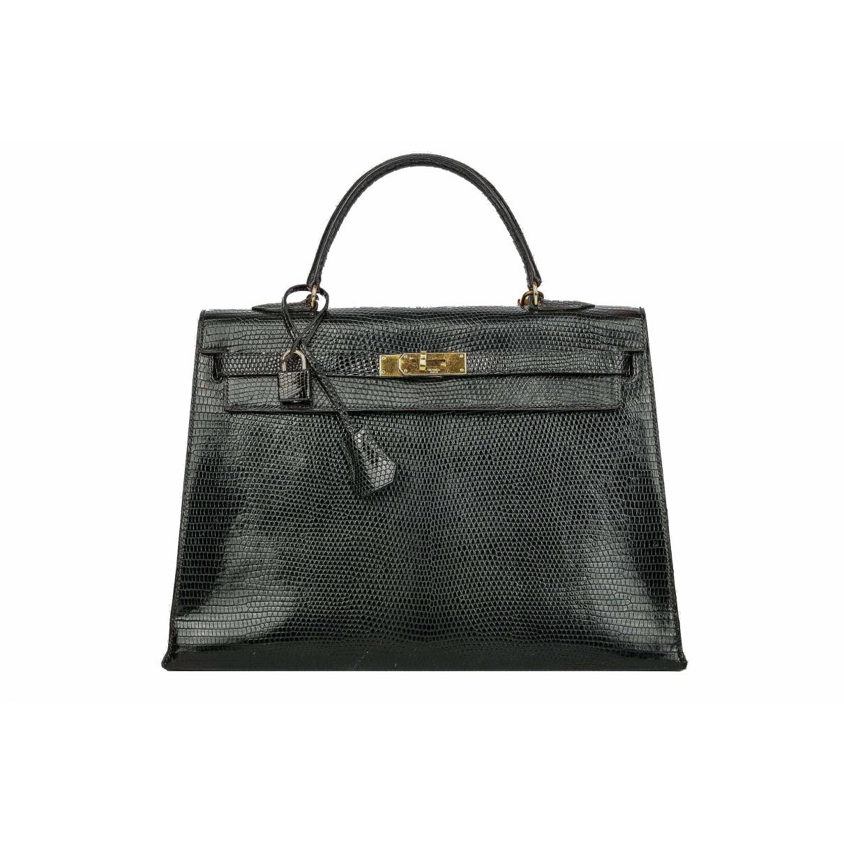 Hermes Kelly 35 Handtasche in  Schwarz Echse