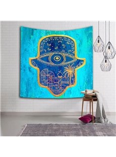 Indonesia Style Hat Trick Pattern Blue Hanging Wall Tapestries