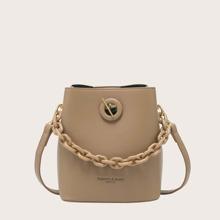 Twist Lock Chain Handle Bucket Bag