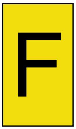 HellermannTyton Ovalgrip Slide On Cable Marker, Pre-printed F Black on Yellow 1.7 → 3.6mm Dia. Range