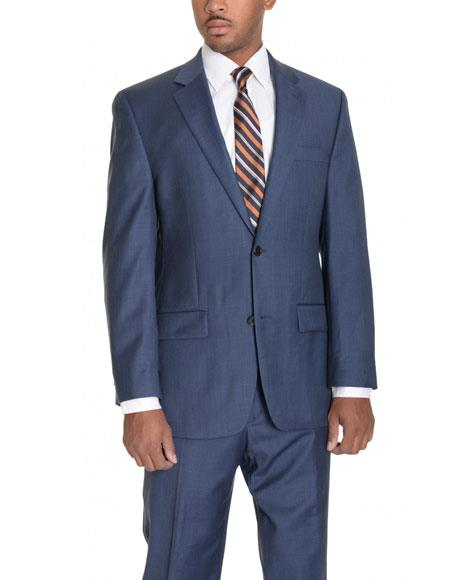 Mens 2 Button Wool Single Breasted Notch Lapel Blue Suit