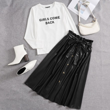 Slogan Graphic Tee and Paperbag Waist PU Leather Skirt Set