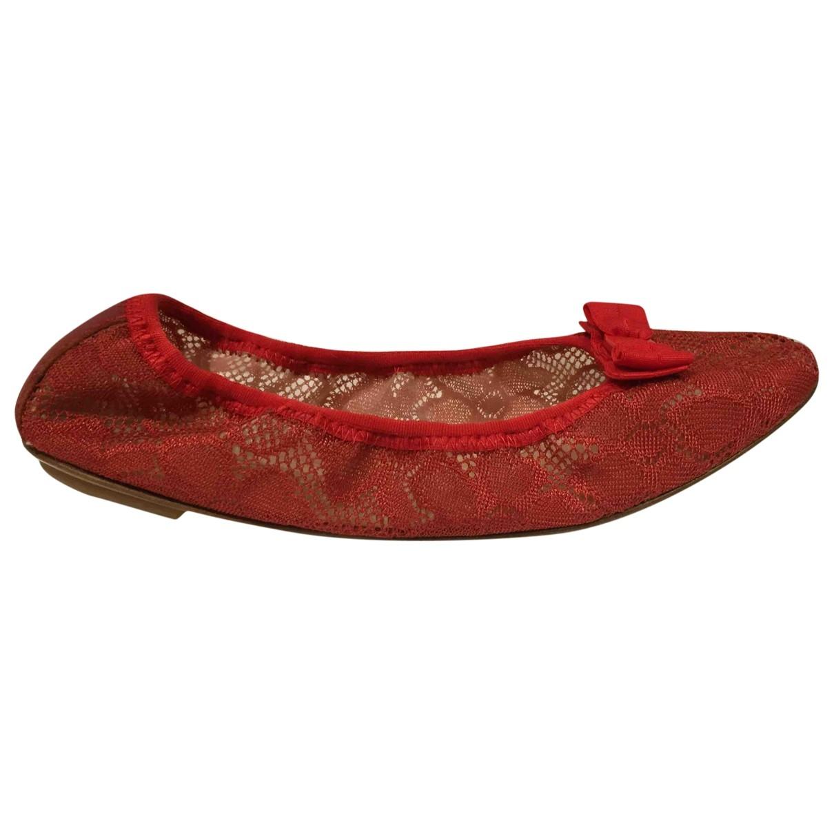 Salvatore Ferragamo - Ballerines   pour femme en toile - rouge