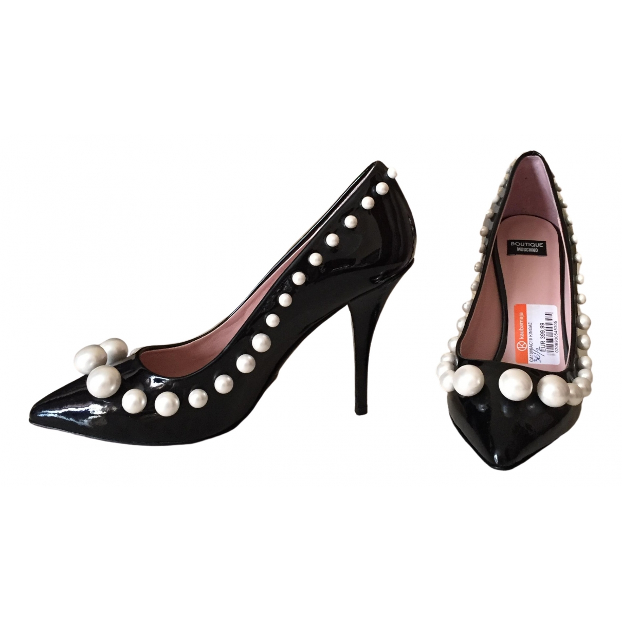 Moschino \N Black Leather Heels for Women 36.5 IT