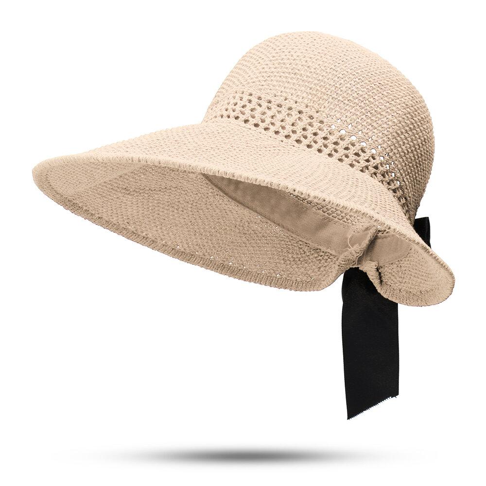 Women UV Protection Straw Hat Wide Brim Bucket Hats Round Flat Caps Beach Holiday Cap