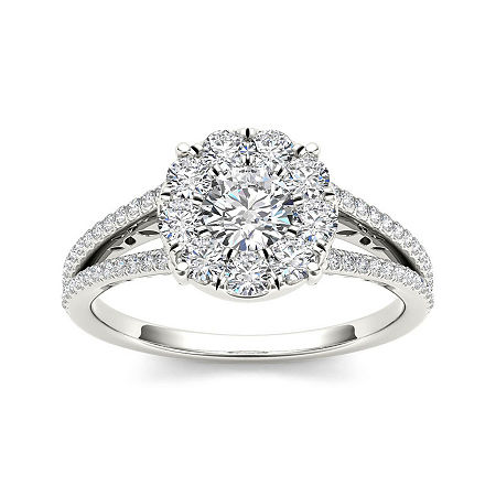 1 CT. T.W. Diamond Cluster 10K White Gold Engagement Ring, 6 , No Color Family