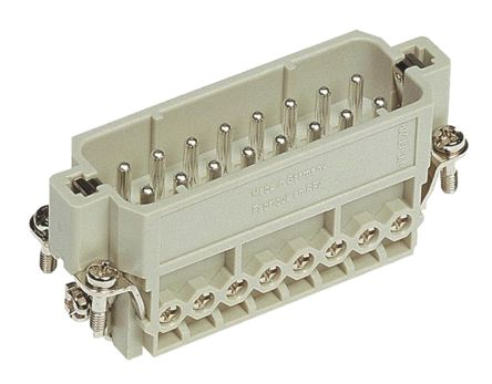 HARTING Han-A Series Male Insert Screw, 16 Way, 2 Row, Rated At 16A, 250 V