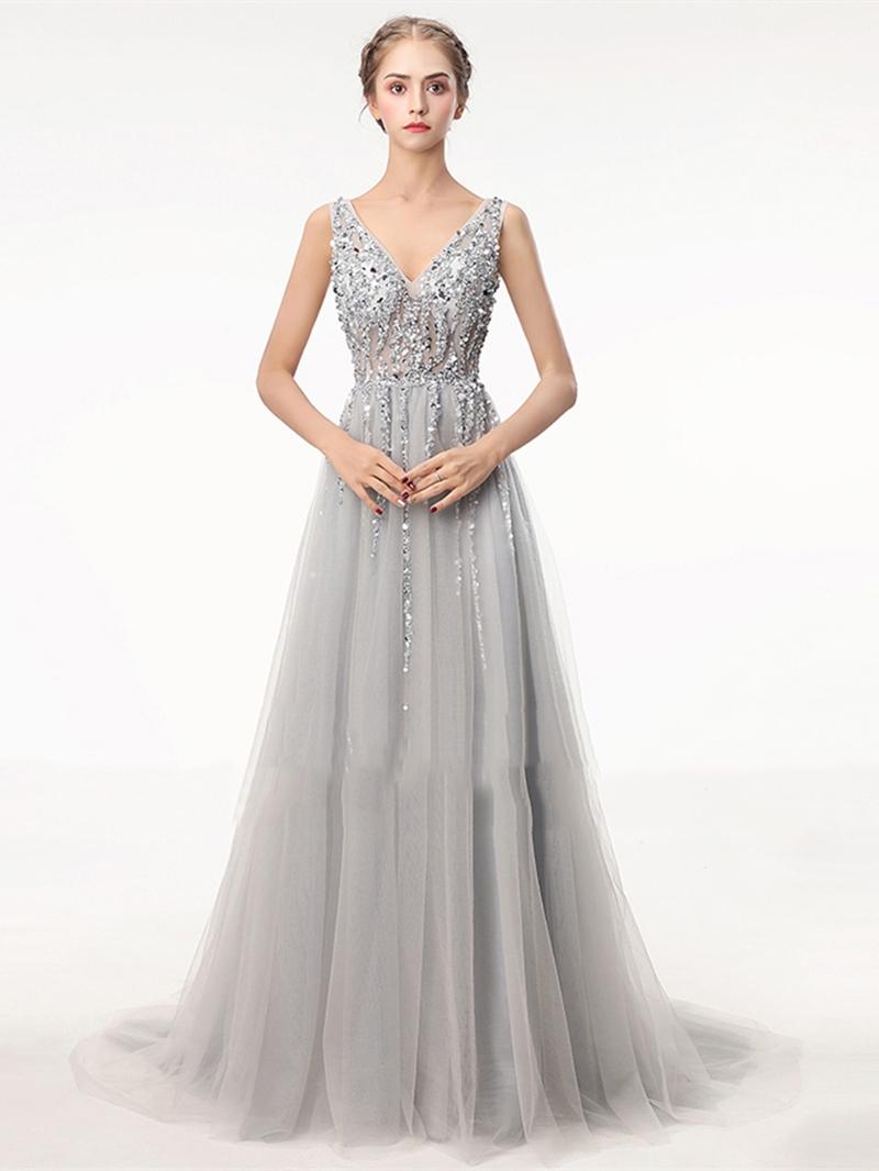 Ericdress A Line V Neck Beaded Backless Evening Dress