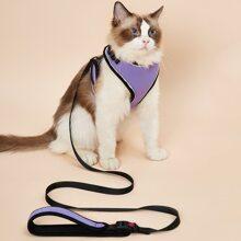 1pc Colorblock Cat Harness & 1pc Cat Leash