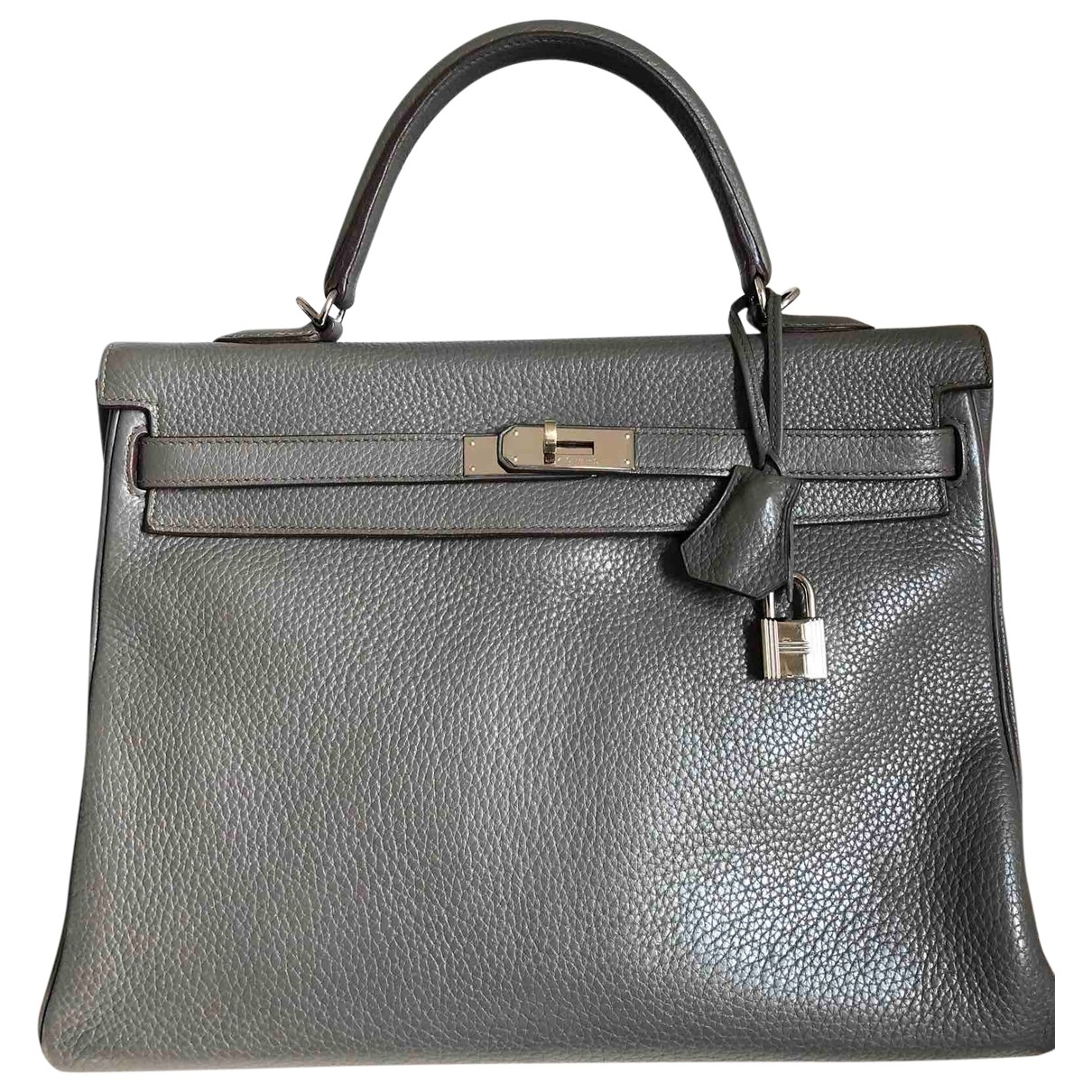Hermes - Sac a main Kelly 35 pour femme en cuir - gris