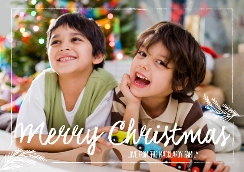 Christmas Photo Cards Flat Glossy Photo Paper Cards with Envelopes, 5x7, Card & Stationery -Signature Chalk Greetings