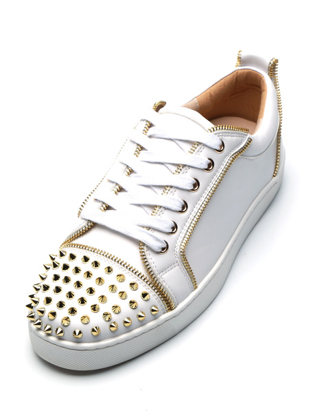 Milanoo White Mens Sneakers 2020 Round Toe PU Leather Rivets Lace Up Casual Skate Shoes