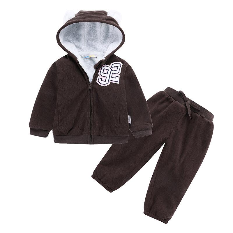 Cute Ear Cartoon 2 PCS Unisex Kids Fleece Long Sleeve Clothing Sets For 1Y-5Y