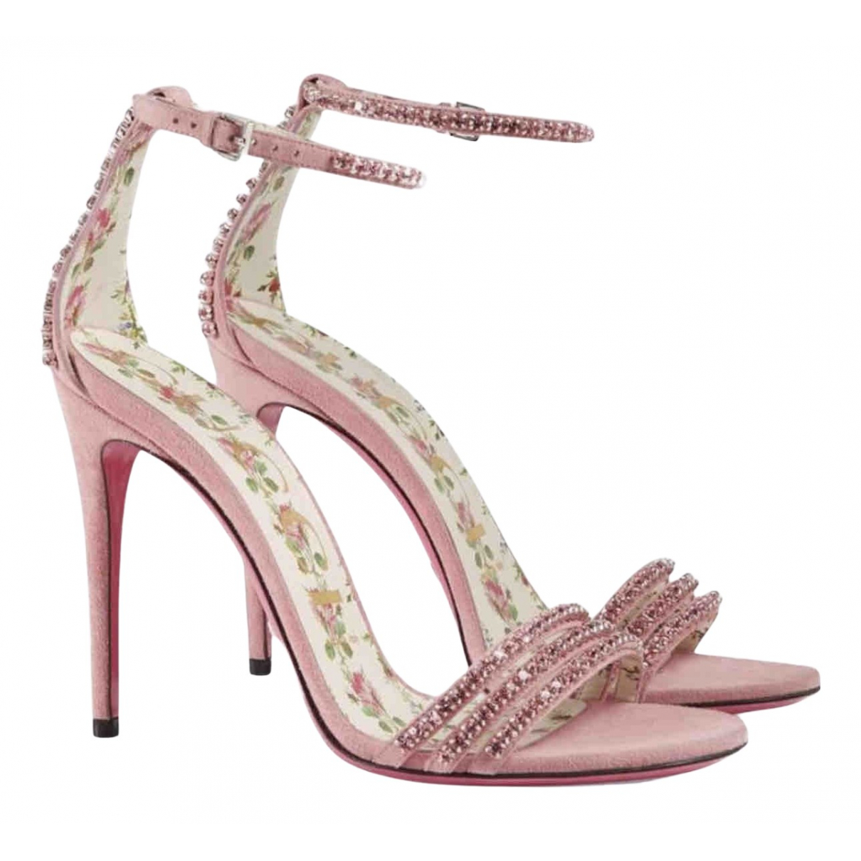 Gucci - Sandales   pour femme en suede - rose