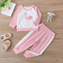 Sweatshirt & Jogginghose mit Flamingo Muster