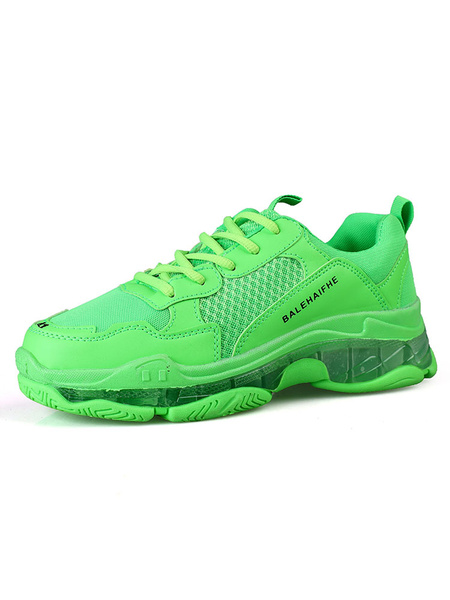 Milanoo Bright Green Color Mens Sneakers 2020 Cozy Mesh Round Toe Athletic Running Shoes
