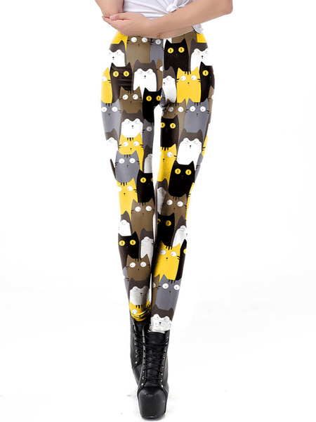 Milanoo Stretchy Leggings Cats 3D Print Women Leggings