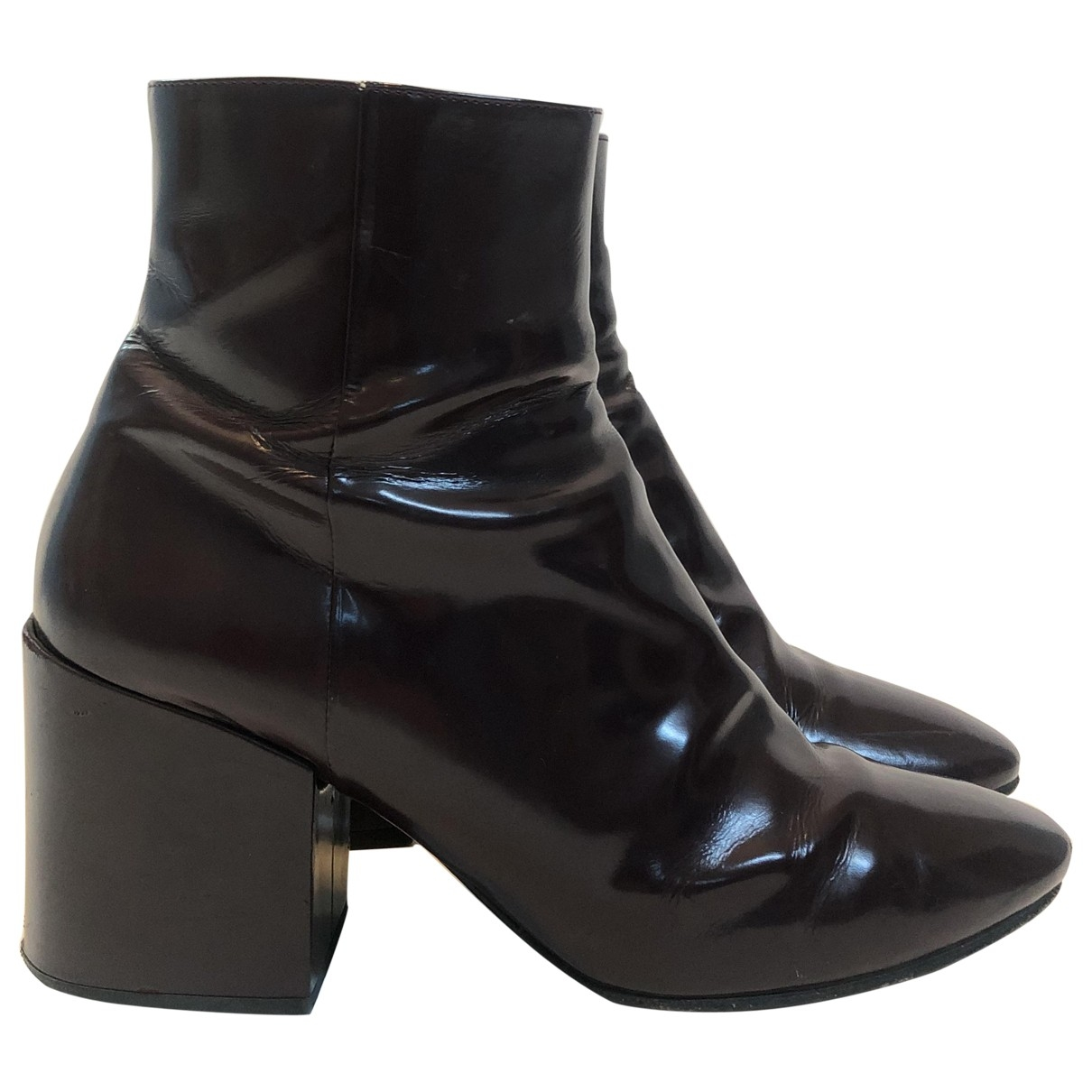 Dries Van Noten \N Burgundy Patent leather Ankle boots for Women 40 EU