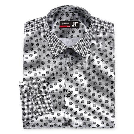 JF J.Ferrar - Slim Easy Care Stretch Mens Point Collar Long Sleeve Stretch Dress Shirt, 14-14.5 32-33, Black