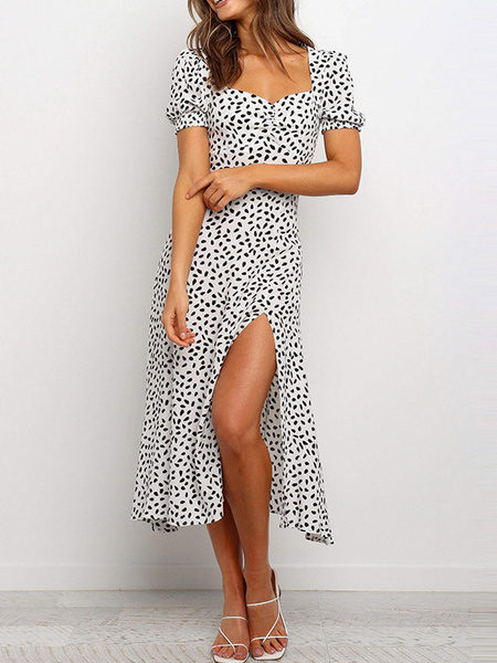 Milanoo Summer Dress Print Puff Sleeve Split Beach Dress