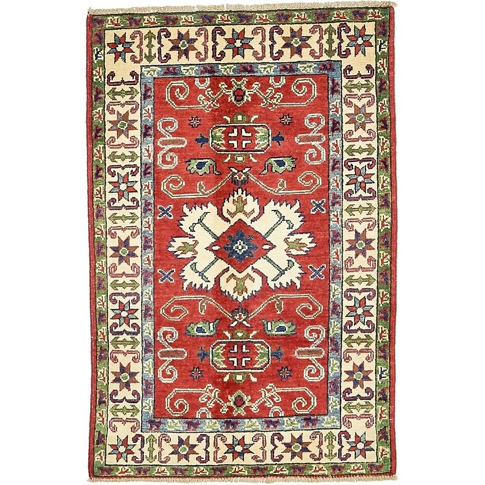 Hand Knotted Kazak Wool Area Rug - 2' 7 x 4' (Red - 2' 7 x 4')