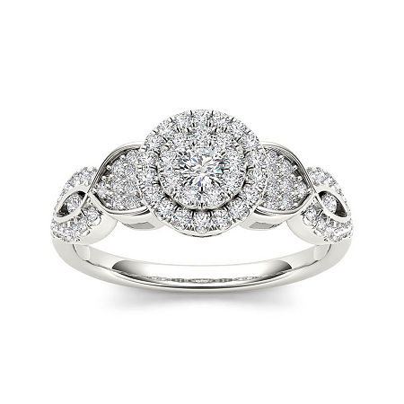1/2 CT. T.W. Diamond Cluster 10K White Gold Engagement Ring, 7 1/2 , No Color Family