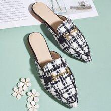 Tweed Loafer Pantoffeln mit Horsebit Dekor