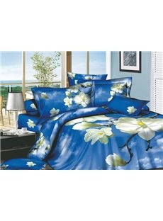 3D White Magnolia and Blue Sky Printed Cotton 4-Piece Bedding Sets/Duvet Covers