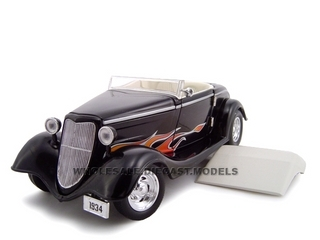 1934 Ford Custom Convertible Black With Flames 1/24 Diecast Car Model by Unique Replicas
