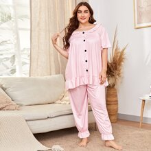 Conjunto de pijama con boton delantero ribete con fruncido de guingan