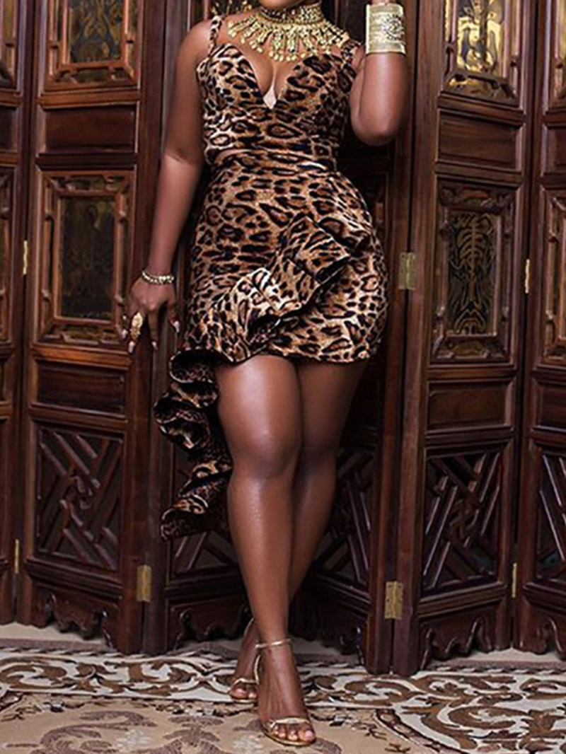 Ericdress Sexy Leopard Vest Bodycon Two Piece Sets