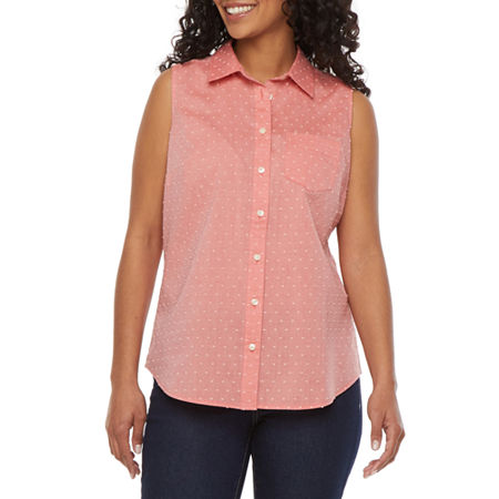 St. John's Bay Womens Sleeveless Regular Fit Button-Down Shirt, Petite Large , Orange