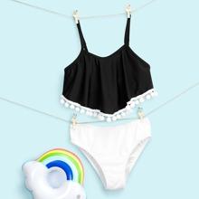 Girls Pom-pom Hanky Hem Bikini Swimsuit